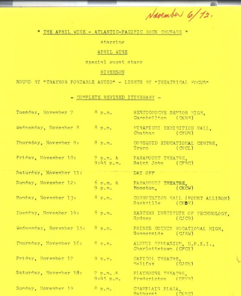 april wine itinerary nov 72